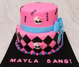 Gâteau Monster High 2 étages à la vanille (8 pouces et 10 pouces), crème au beurre meringue suisse et recouvert de fondant.