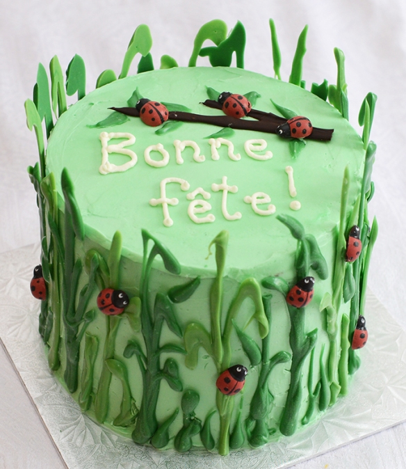 Gâteau 6 pouces vanille et chocolat blanc, recouvert de glaçage meringue suisse à la vanille et décoré avec des coccinelles et des brins d'herbe en chocolat.