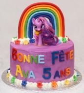 Gâteau de pouliche 10 pouces au chocolat recouvert de glaçage meringue Suisse mauve. Arc-en-ciel, lettres, et fleurs en fondant.